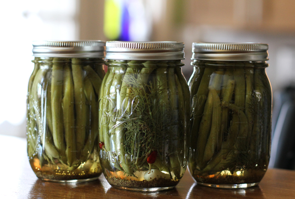 ... also had time to make one allowable treat: spicy pickled green beans