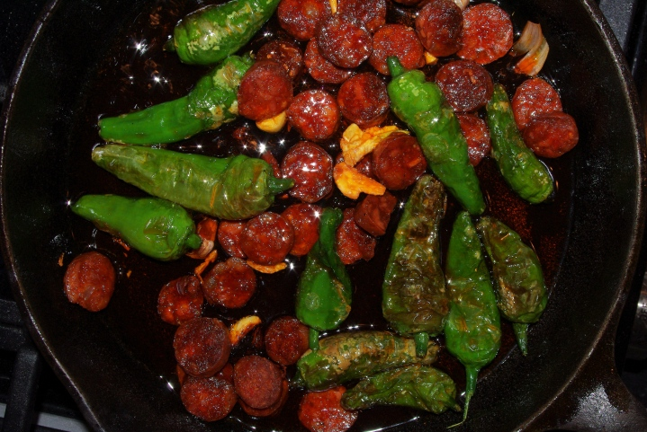 Padron peppers with chorizo
